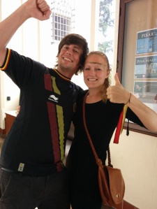 Proud Belgian I-House residents Bart Wolput and Annick Coenen celebrate the victory of their team