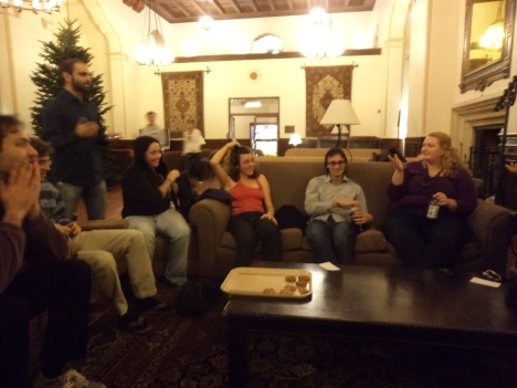 Look at his smile! Its definitely him! Residents Sunshine(John), Wicher, Critsch, Meghan, Helene, Joe and Rachel (from left) at a game of Mafia in the Great Hall.