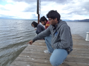Look its a lake!  Lake Tahoe Mingjiao, Ritadhi and Vishwa