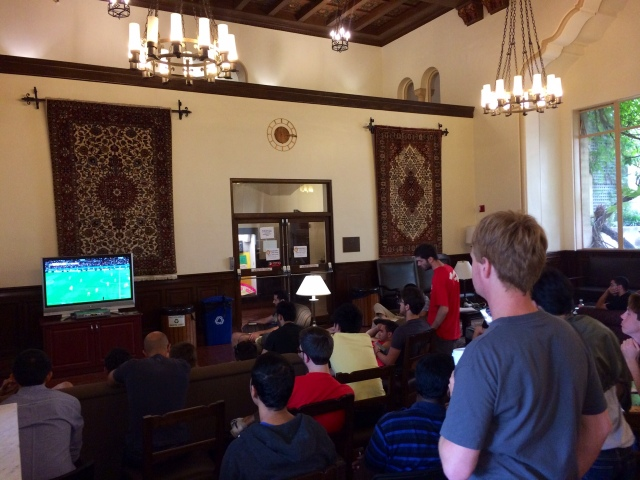 World Cup viewing in Great Hall