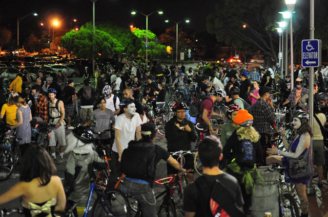 The Zombie East Bay Bike Party starts at a Bart station