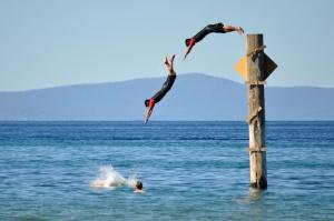 That's me diving in Lake Tahoe!