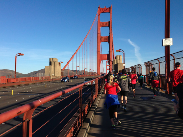 Running on the Golden Gate Bridge at the US Half