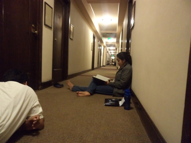 Intense study sessions in the hallways