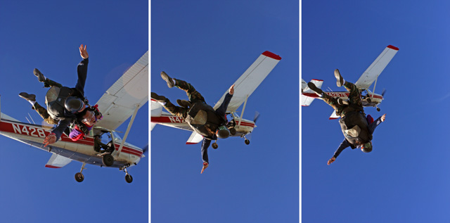 Jumping out of an airplane.