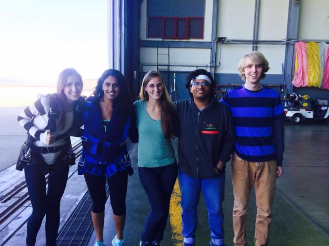 Residents Anna, Amber, Anne, Vishwa and Nicholas ready for the skydive