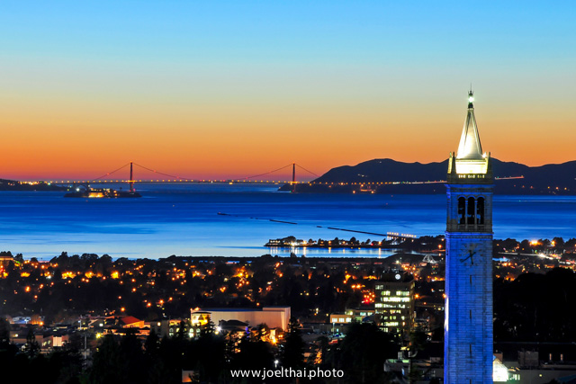 Blue Campanile and Golden Gate at Sunset. Click to enlarge. http://joelthai.photo