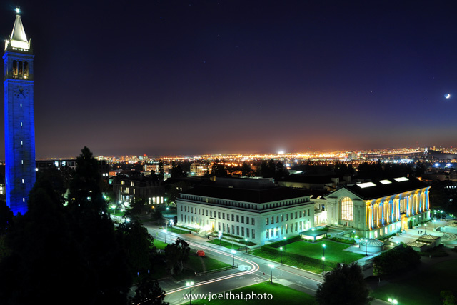 Blue Campanile and Doe Library. Click to enlarge. http://joelthai.photo