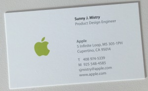 Sunny's business card at Apple