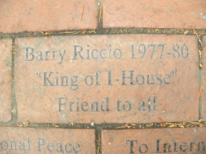 The patio brick that friends inscribed to honor my husband