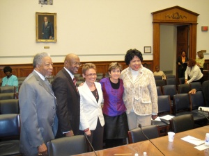 With members of Congress and former Mayor of Washington DC after my Congressional testimony about the need for potty parity