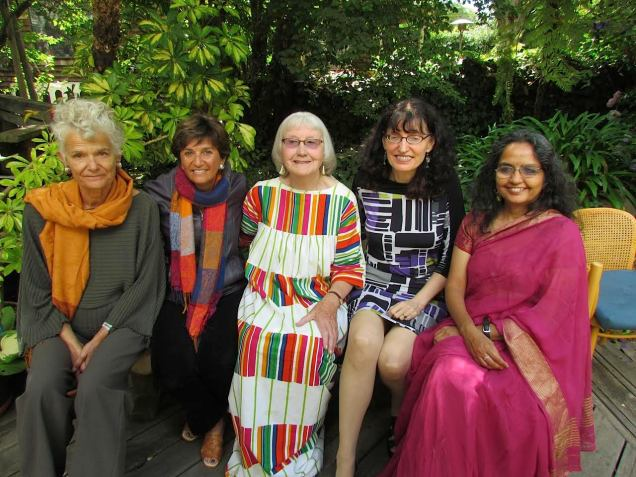 With I-House alumnae Clare Cooper Marcus (center) and Amita Sinha (right) - at Clare's 80th birthday party. Also shown: Galen Cranz (left) and Carolyn Francis (second from right) - Berkeley 2014