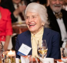 Professor Marian Diamond (IH 1949-52) enjoys the presentation at Gala.