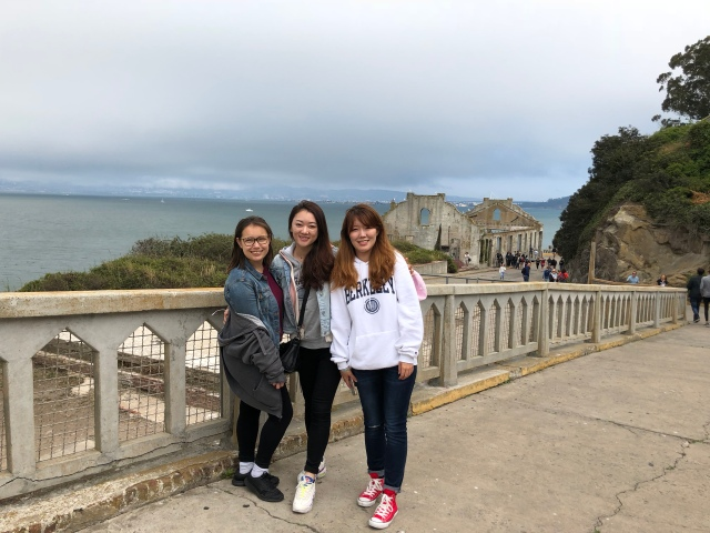 I-House residents during a group trip to Alcatraz Island in San Francisco