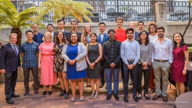2019-20 I-House Scholarship Recipients with Executive Director Hans Giesecke, Ph.D.