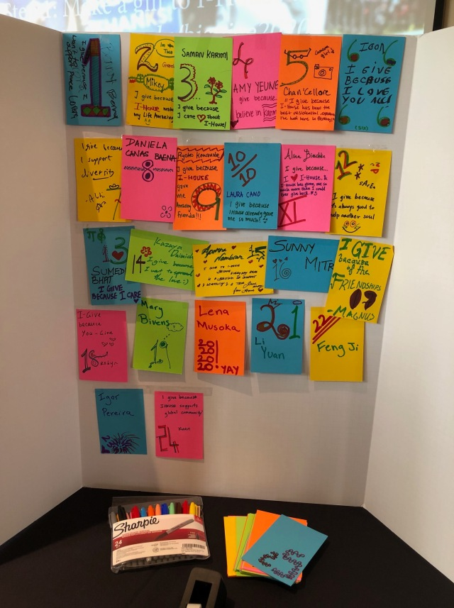 Interactive display with cards from resident donors